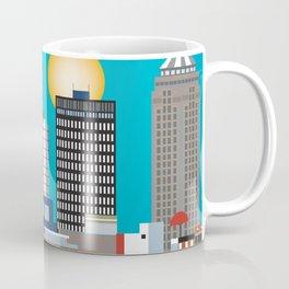 Des Moines, Iowa - Skyline Illustration by Loose Petals Coffee Mug