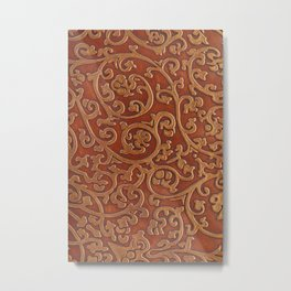 Golden Reddish Brown Tooled Leather Metal Print