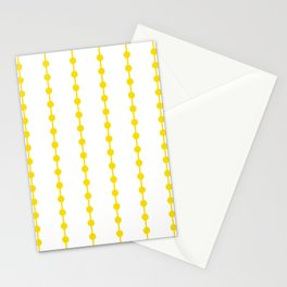 Geometric Droplets Pattern Linked - Summer Sunshine Yellow on White Stationery Cards