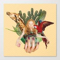 safari Canvas Prints featuring Safari  by polina stroganova collages