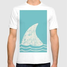 Beach Series Aqua- Shark Animal in the deep See White Mens Fitted Tee LARGE