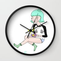 gameboy Wall Clocks featuring Gameboy Babe by A leskiweejus