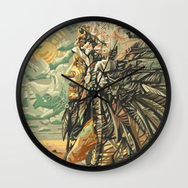 native american portrait Wall Clock