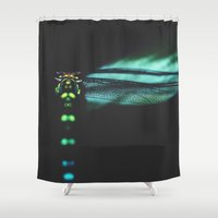dragonfly Shower Curtains featuring dragonfly by Ingrid Beddoes