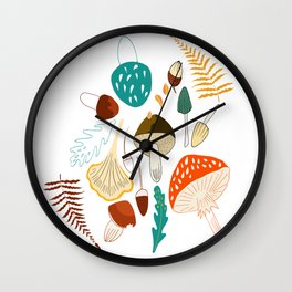 Mushrooms and leaves in autumn Wall Clock