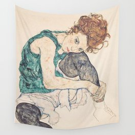 SEATED WOMAN WITH BENT KNEE - EGON SCHIELE Wall Tapestry