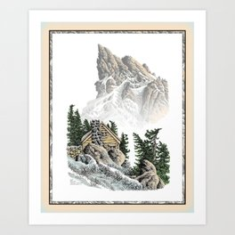 MOUNTAIN CABIN PEN DRAWING FROM THE NORTH CASCADE RANGE Art Print