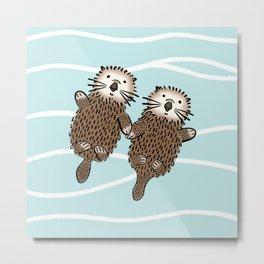 Otters in Love Metal Print