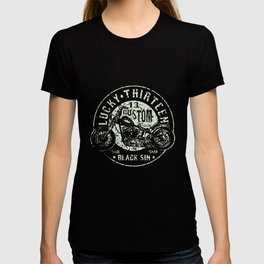 New Lucky 13 Black Sin Motorcycle Hot Rod Car Work Black Tattoo Biker Hot Rod T-Shirts T-shirt