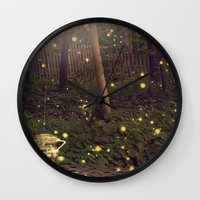 fireflies Wall Clocks featuring Fireflies by Maureen Anne