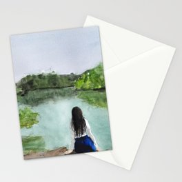 girl and nature Stationery Cards
