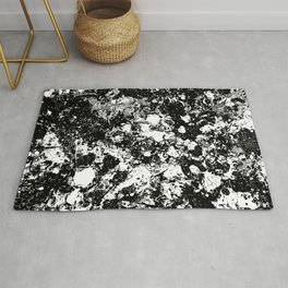 Bad Memories - black and white abstract painting Rug