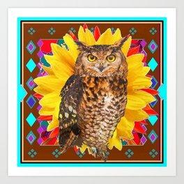 COFFEE BROWN SUNFLOWER ART DECO OWL Art Print