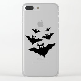 Cool cute Black Flying bats Halloween Clear iPhone Case
