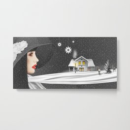 The woman with th winter scarf Metal Print