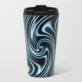 Blue and Black Licorice Ribbon Candy Fractal Travel Mug