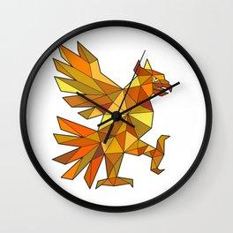 Cuauhtli Glifo Eagle Fighting Stance Low Polygon Wall Clock