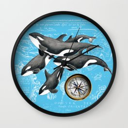 Orca Whales Pod Blue Compass Vintage Map Wall Clock