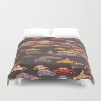 mercedes Duvet Covers featuring Never-ending traffic jam by smallDrawing