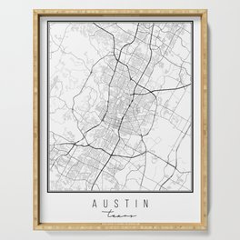 Austin Texas Street Map Serving Tray