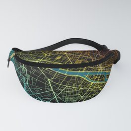 Colourful Road Map of Paris, France Fanny Pack