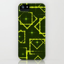 Yellow diamonds and squares at the intersection with the stars on a mustard background. iPhone Case