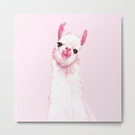 Llama Pink Metal Print