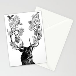 The Stag and Roses | Black and White Stationery Cards