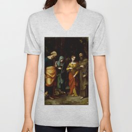 "Antonio Allegri da Correggio ""Saints Peter, Martha, Mary Magdalen, and Leonard"" Unisex V-Neck"