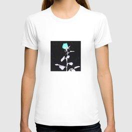 Single Rose aqua black and white Abstract design T-shirt