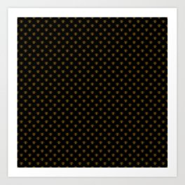Small Bright Gold Metallic Foil Bees on Black Art Print