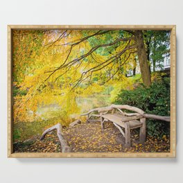Autumn Bench Meadow Serving Tray