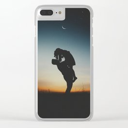 WOMAN - MAN - MOON - SUNSET - PHOTOGRAPHY Clear iPhone Case
