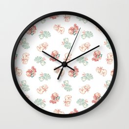 Vintage Baby Teddy Bears Toss in White Wall Clock