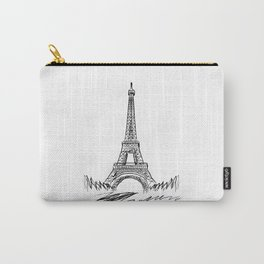 Eiffel Tower minimalist black and white illustration Carry-All Pouch