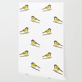 Cute Little Yellow Bird Parus Major Cartoon Illustration On Blue Wallpaper