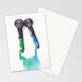 Larrying Mics (Green and Blue) Stationery Cards
