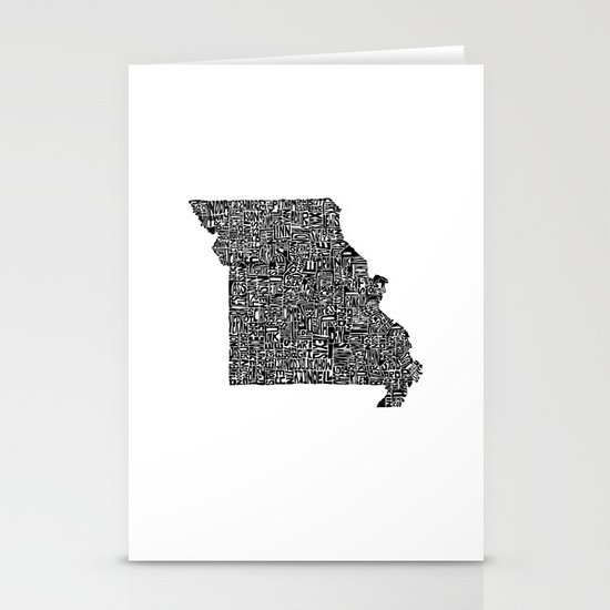 Typographic Missouri Stationery Cards