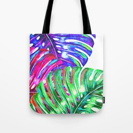 Colorful monstera illustration Tote Bag