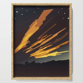 Sunrise cartoon landscape and comet tails Serving Tray
