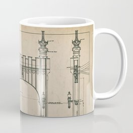 Pittsburgh Bridge Wall Art, 1914 Blueprint, Pittsburgh History & Architecture Coffee Mug