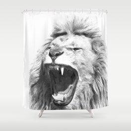 Black White Fierce Lion Shower Curtain