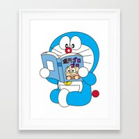 doraemon Framed Art Prints featuring Doraemon Reading Comic Book by Timeless-Id