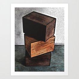 Three Wooden Boxes On Dresser Art Print