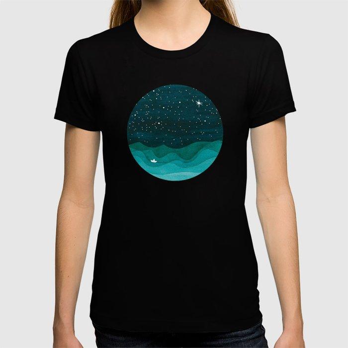 Starry Ocean, teal sailboat watercolor sea waves night T-shirt