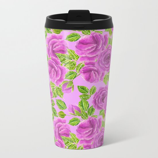 Violet roses watercolor pattern design Metal Travel Mug