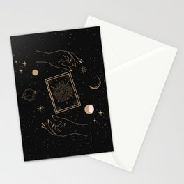 Magic94 Magical Book Hands Outer Space Astrological Star Moon Boho Bohemian Symbol Gold Black Minimalist Stationery Cards