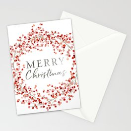 Merry Christmas wreath. Red berry Stationery Cards