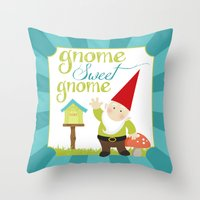 gnome Throw Pillows featuring Gnome sweet gnome by Ink Tree Press by Erin Rippy