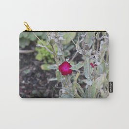 Burgundy Flower Carry-All Pouch